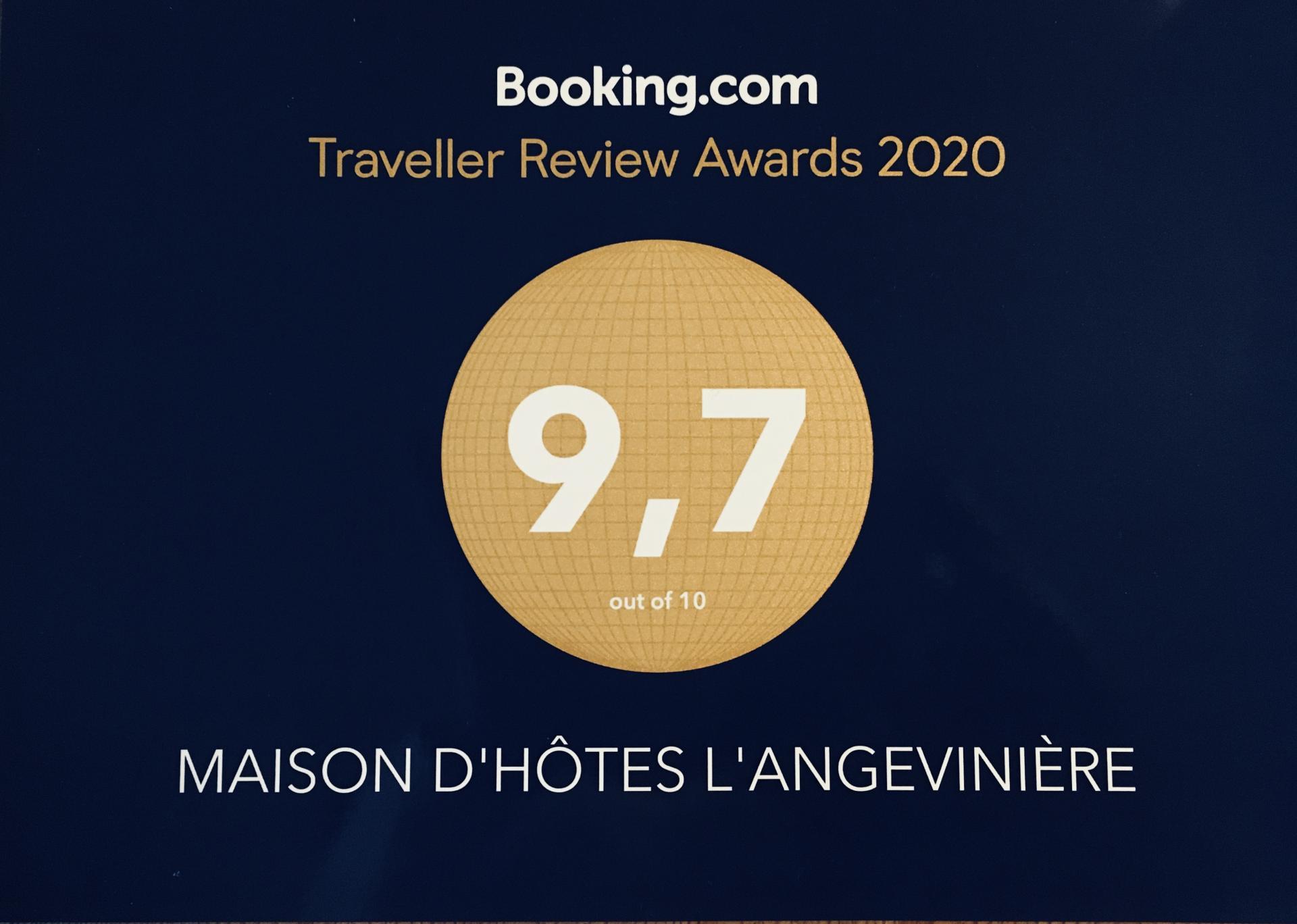 Notre récompense de Booking.com 2019